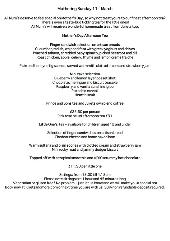 Mothers Day menu 2018